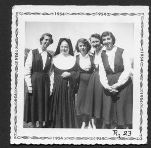 Sr. Teresa Hayes with Renfrew girls at St. Joseph's Academy
