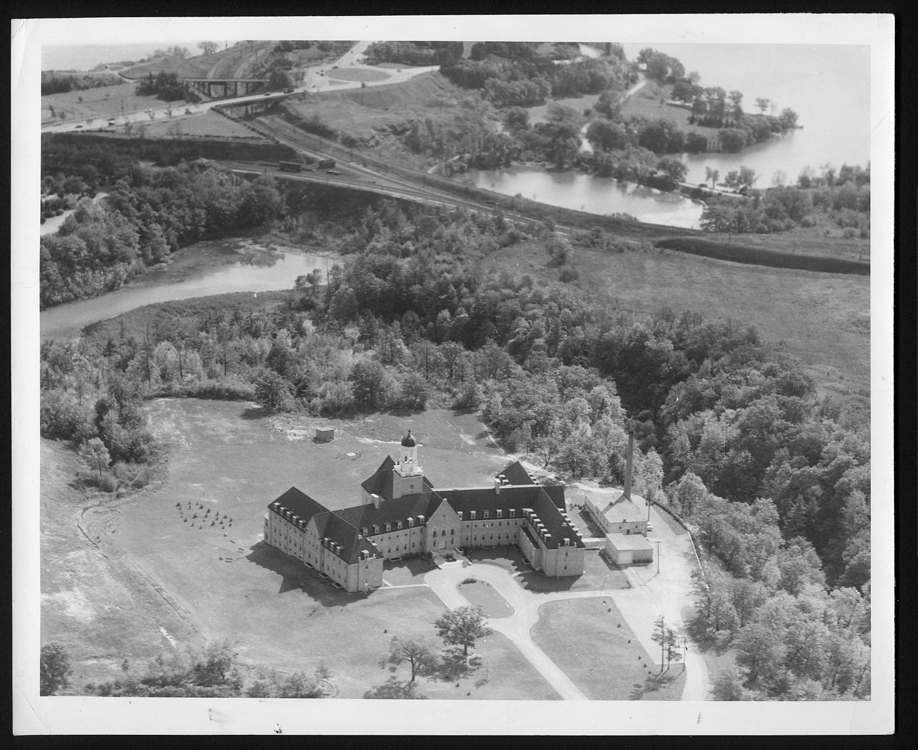Aerial view of front of St. Joseph's convent