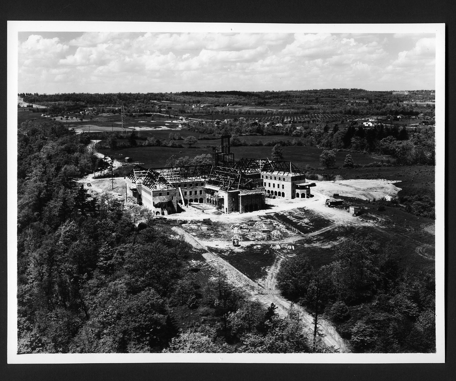 Aerial view of St. Joseph's convent construction