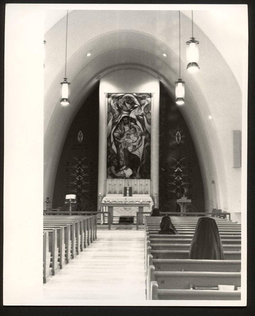 Nativity mural with communion rail