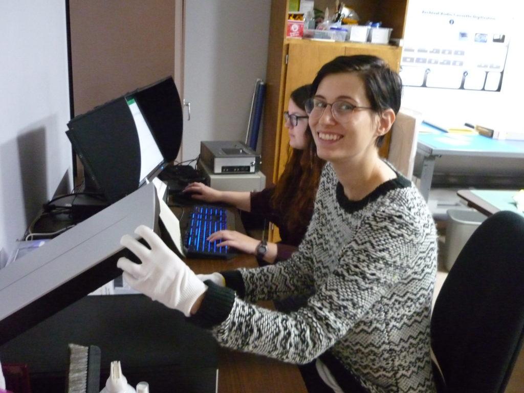 Students digitizing materials