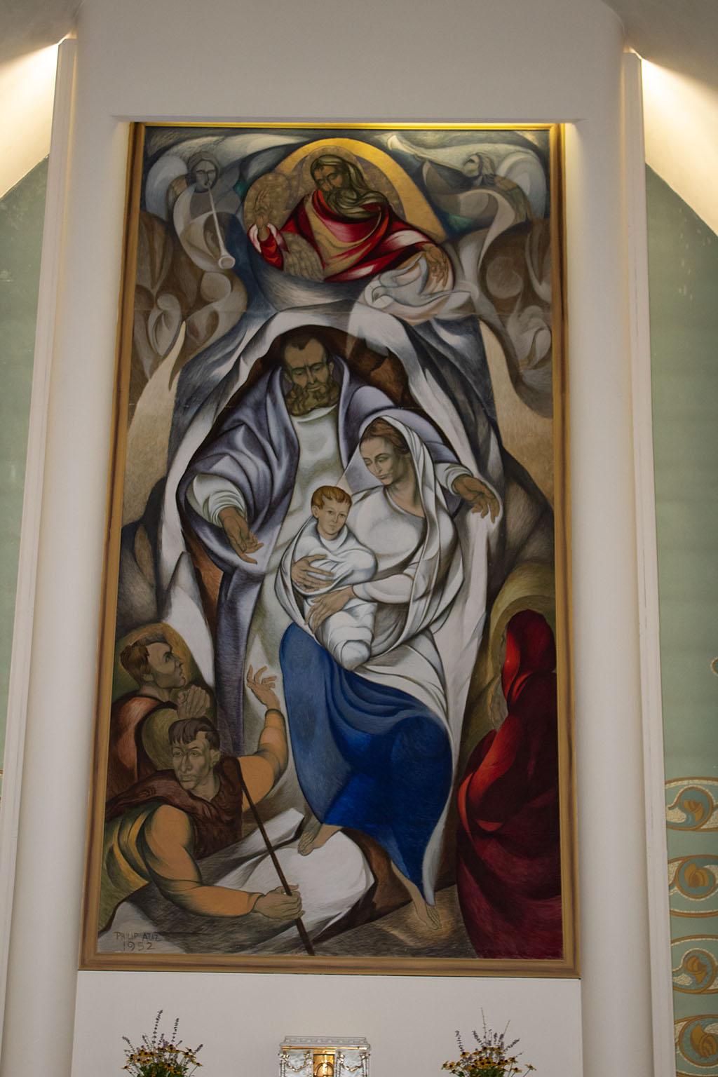 The Nativity altar mural by Philip Aziz