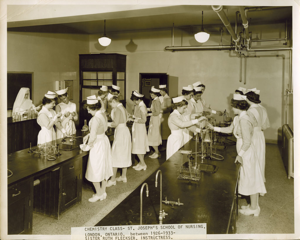 Chemistry class at St. Joseph's School of Nursing