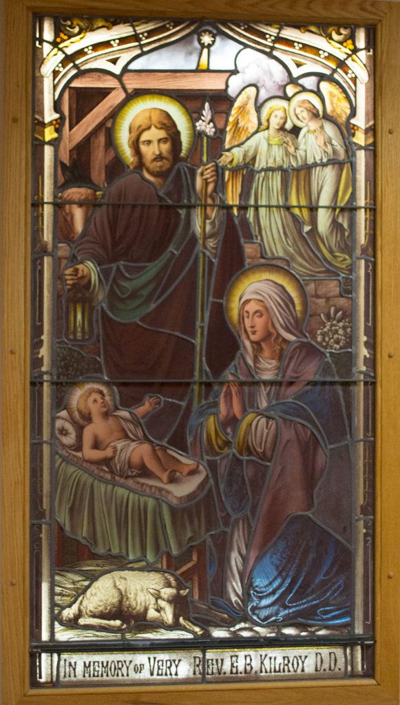 Birth of Jesus with angels window
